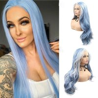 Synthetic Wigs Long Curly Water Wave Lace Front Wig Blue Ombre White Colored Cosplay Frontal For Black Women Middle Parting Hair