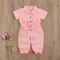 Infant Kids Baby Girls Denim Jumpsuit Work Clothes One Piece Toddler Standing Collar Pocket Short Sleeve Romper for Children
