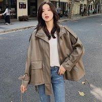 Women's Leather & Faux 2021 Autumn Cropped Jacket Women Korean Loose Motorcycle Big Pocket Fashion Short Veste Femme