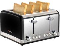 2 piezas de tostadora de gohyo 4 rebanada 100% fabricante de pan de acero inoxidable con tragamonedas anchas Bandeja de migas extraíbles para panecillos de tostado (incluido el IVA)