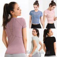 lu yoga shirts t-shirt tshirts for women designer woman lulu t shirt outfit Breathable mesh sport fitness lace 2021 0403 B0j7#