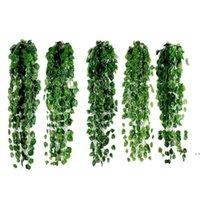 1 PCS 2M Artificial Ivy Folha Verde Guirlanda Plantas Vine Falske Folhagem Flores Home Decor Plástico Artificial Flor Rattan String HWD6043