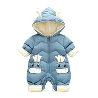 Baby Rompers Winter Newborn Down Coat Bodysuits Infant Babies Clothes Girls Boys Jumpsuit Hooded Kids One Piece Clothing Toddler Outwear Keep Warm Cartoon B8774