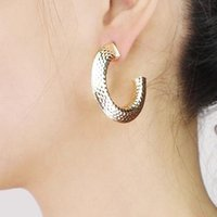 Surface Carving Metal Simple Stud Earrings For Women Geometric Golden Silver Color Fashion Jewelry 2021