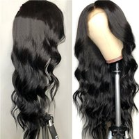 Synthetic Wigs Body Wave Jet Black Lace Frontal Hair High Temperature Wig With Natural Hairline For Women Daily