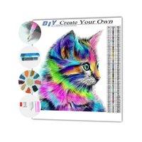 Custom 5D full drill rhinestone mosaic diamond painting kit wholesale animal cute cat square drill diamond painting