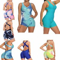 Frauen Backless Workout Yoga Jumpsuit Shorts One Piece Sexy Sleeveless Butt Heben Strukturierter Bodysuit Bandage Strampler Playsuit V1DN #