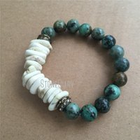 Charm Bracelets BM23737 Natural Stone African Turquoise Beads Bracelet Green Moss Agates Beaded White Spacers Jewelry