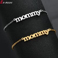 Link, Chain Fashion Stainless Steel Simple Mommy Letter Bracelets Link Charm Bracelets&Bangles Jewelry For Women Gift