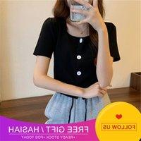 Color Button New Summer Four Cardigan Women's Short Sleeve Sweater Women's Slim Top