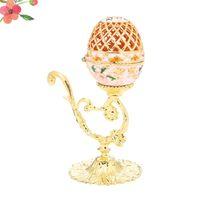 装飾的な花の花輪イースターエッグ形のデスクトップの飾り創造的な宝石棚箱絶妙なホルダーのトリンケットケース