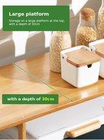 4-Tier Microwave Shelf Rack Kitchen Shelve Bamboo Floor-Standing Cabinet Spice Organizer Kitchen Storage Rack With Drawer