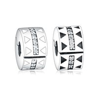 Fit Original Pandora Charms Bracelets Sterling 925 Silver Jagged Lines Clip Bead With Zircon Charm DIY Jewelry Women Berloque