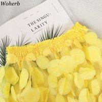 WOHERB Moda Zarif Slash Boyun Puf Kol Bluz Kadın Örgü Patchwork 3D Çiçek Gömlek Kore Yeni Tops 91351 201202