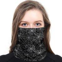 Scarves Black White Spider Web Line Geometry Neck Gaiter Magic Scarf Mens Ladies Rectangular Hijab Custom
