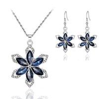 Cristal six pétales boucles d'oreilles fleurs collier bijoux ensembles de bijoux diamant inlay mariée boucles d'oreilles de flocon de neige féminin féminin accessoires de mode 5 25hb q2