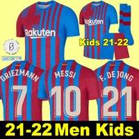 Camisas de futebol MESSI Barcelona BARCA FC 21 22 ANSU FATI 2021 2022 GRIEZMANN F.DE JONG KUN AGUERO Emerson Eric malhas kit camisa homem mulher filhos crianças conjuntos meias