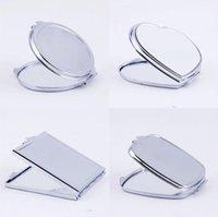 Nouvelle poche d'argent mince miroir compact blanc rond maquillage en forme de coeur miroir miroir bricolage miroir cosmétique miroir cadeau de mariage