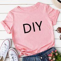 Mulheres personalizam t-shirt branco cor-de-rosa cinza amarelo amarelo t-shirt das mulheres diy cliente t-shirt atacado, drop shirt y0606
