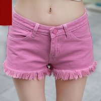 Sexy Khaki Low Waist Denim Shorts Women's Summer Tassel Jeans Pants Skinny Bf Booty Women