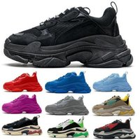 الرجال النساء الثلاثي الأحذية الأحذية باريس 17FW أسود خمر رياضة الرجعية 2021 مصمم الأزياء منصة الركض المشي المدربين zapatos حجم 36-45