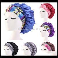 Women Satin Night Beauty Salon Sleep Cover Bonnet Hat Silk Head Wide Elastic Band For Curly Springy Hair Chemo Cap Towel 3Webd Adtz4