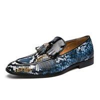 Designer Luxo Mens Azul Lazer Sapatos Borla Charme Python Snake Pattern Ponto Pessoa Toe Barco Apartamento Casual Zapatos Tamanho 39-45