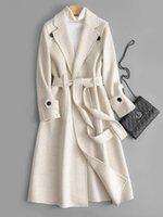 Women's Wool & Blends Double Sided Cashmere Overcoat Mid Long Autumn Winter 2021 Slim Tie Temperament Goddess Tweed Jacket