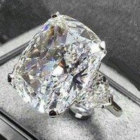 Sparkling vintage gioielli coppia anelli 925 argento sterling grande taglio ovale diamante da sposa anello da sposa set regalo