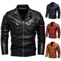 Hombre invierno chaqueta solapa cuero negro motocicleta hombres biker abrigos plisados diseño inteligente piel cálida forrada chaquetas de hombres delgado
