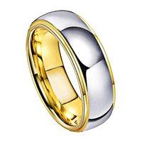 Anelli di nozze di tungsteno Gioielli da donna Gold Mens Tungsteno Carbide Band Anniversary 6 / 8mm Coppia Anello anello anello accidenti Comfort Fit 210310 759 q2