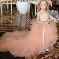 Girl's Dresses Princess Light Pink Flower Girl Lace Top Long Train Kids Wedding Gown Birthday Pageant Brithday Formal Clothes Customize