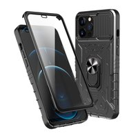 For iphone 13 pro max 12 11 Phone Cases 3 in 1 TPU PC Build-in Screen Glass Protector Camera Lens Protective kickstand Case Cover