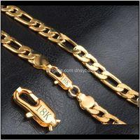 Подвески Drop Доставка 2021 Фигаро цепи Ожерелья для мужчин 8 мм 20 дюймов 18k позолоченные позолоченные штамповые моды хип-хоп ювелирные украшения EJ7G6