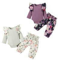 kids Clothing Sets girls Floral outfits infant toddler ruffle Flying sleeve Tops+Flower print pants 2pcs set Spring Autumn fashion baby Clothes Z3844
