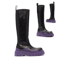 AAA++ Black+Purple soles Bottega Tire high leather boots Cowhide leather Chelsea booties Men platform chunky shoes lady Knight High-boots women cowhide boots 35--45