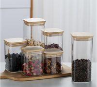 Высокая боросиликатная стеклянная уплотнительная чайная канистра бамбуковая крышка кофе коробка прозрачный кухонный бак конфеты банка Caddy бутылки банки