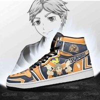 DIY Anime Fan Sugawara Koushi Erkek Bayan Basketbol Ayakkabı Jumpman 1 Model Özel Eğitmenler Rahat Ayakkabı