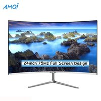 AMOI 24 pollici Monitor Gaming 75Hz PC 1080P LCD Gamer Gamer Schermo curvo Display con tappetino per mouse, monitor del mouse