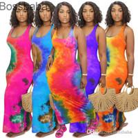 Ladies Long Dress Tie Dye Short Sleeve Casual Long Skirt Sexy U-neck Big Swing Fashion Printed Sleeveless Maxi Dresses Plus Size 878