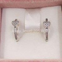 Authentic 925 Sterling Silver Studs Alluring Hearts Hoop Earrings Fits European Pandora Style Studs Jewelry 297290CZ
