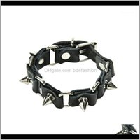 Charm Bracelets Jewelryjettingbuy 1Pc Cool Wolf Tooth Bangle Fashion Gothic Metal Cone Stud Spikes Rivet Leather Wristband Men Punk Style1 D