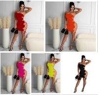 Frauen Solide Farbe Party Slim Strumpfhosen Mini Röcke Eine Schulter Nachtclub Kleidung Retro Mode Casual Kleid Sommer Plus Größe Kleidung