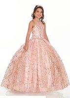2020 Bling Rose Gold Mini Quinceanera Pageant Kleider für kleine Mädchen Glitter Tüll Juwel Strasssteine Perlen Party Kleid Kleinkind Blumen