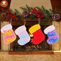 Decompression Toy Christmas Hat Socks Old Man Cartoon Purse Coin Bag Mini Key Headphone Bags DHL Shipping sx