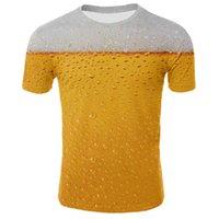 Cerveja는 웅덩이와 뮬 마루 껍질을 느낀다. Neckline EM 또는 E 대형 T 셔츠가있는 3D 여름 캐주얼 짧은 소매 COM