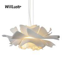 Nordic White Acrylic Pendant Lamp Creative Petal Suspension Light Cafe Bakery Shop Hotel Living Bedroom Flower Hanging Lighting