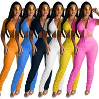 Kadınlar İki Adet Setleri Yaz Eşofman Kısa Kollu Kravat Yukarı Kırpma Üst Yığılmış Çan Alt Dantelli Pantolon Suit Fitness Kıyafetleri 2 adet