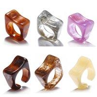 53051 6 teile / satz Bunte transparente Acrylharzringe Set für Frauen Unregelmäßigen geometrischen Square Ring 2021 Trend Schmuck