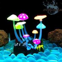 1pcs Luminous Colored Mushrooms Mini Fish Tank Decoration Accessories Aquarium Plants Ornaments Bowl Background Decorations